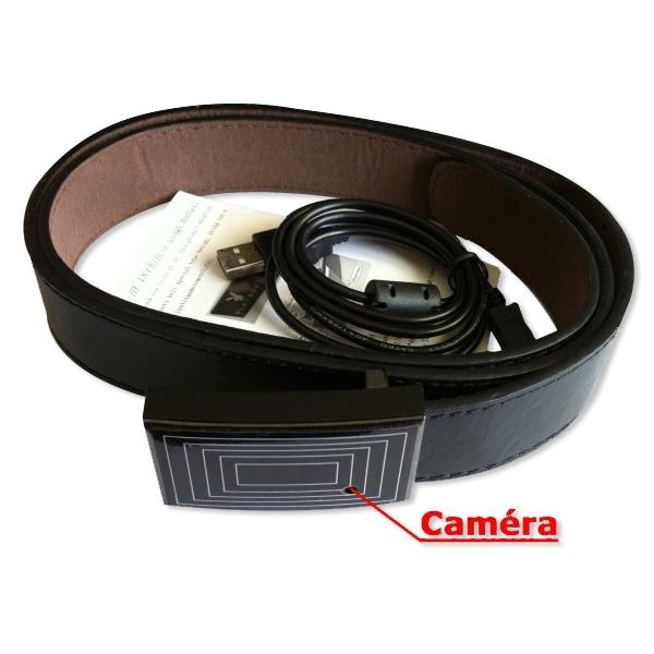 Ceinture cuir noir caméra espion espionne