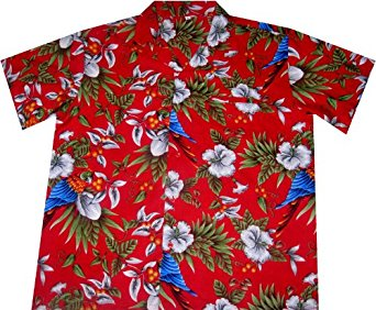 Chemise Hawaienne Hawaiian Parrots (red) taille M