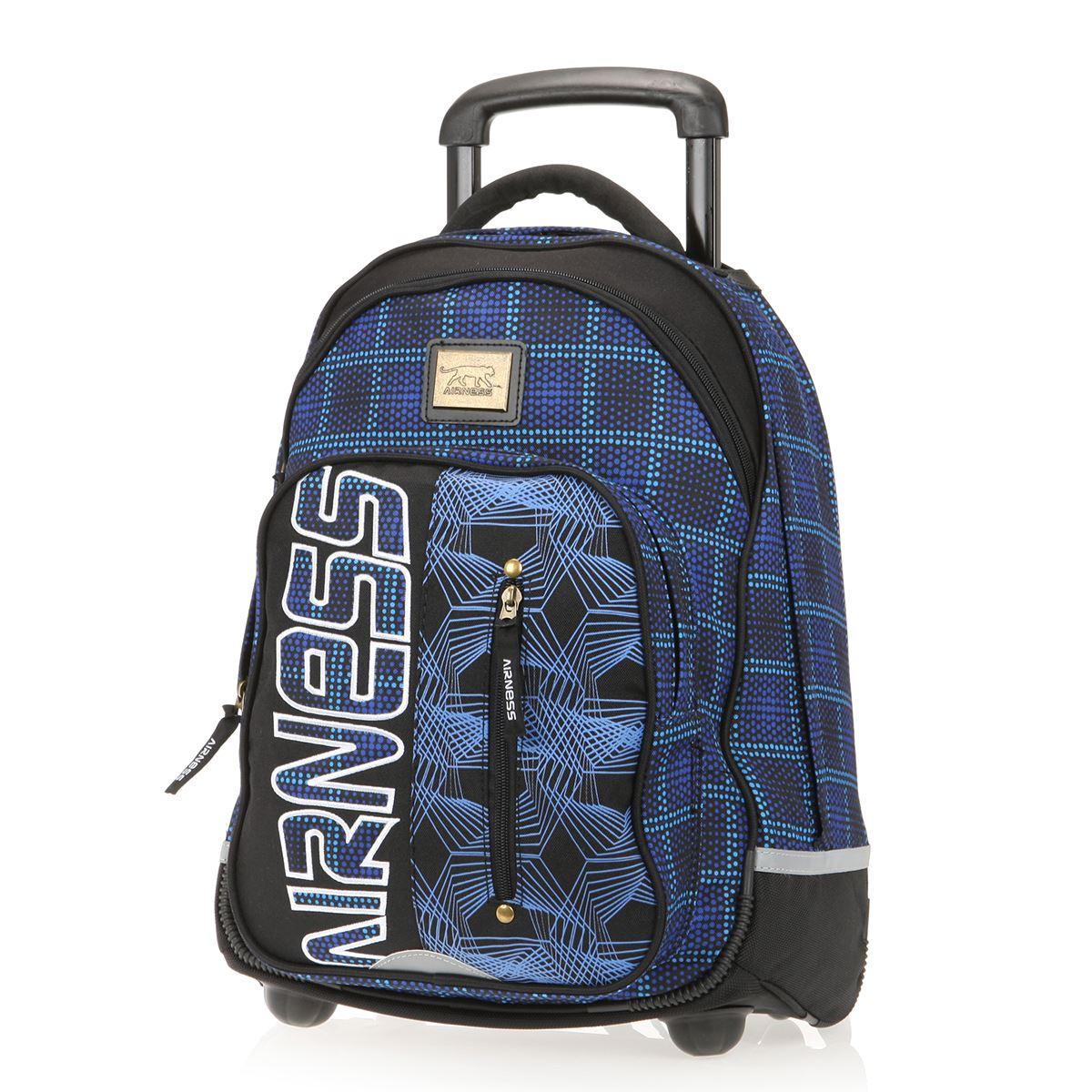 AIRNESS Sac à dos roulettes Bleu et noir Achat / Vente sac à dos
