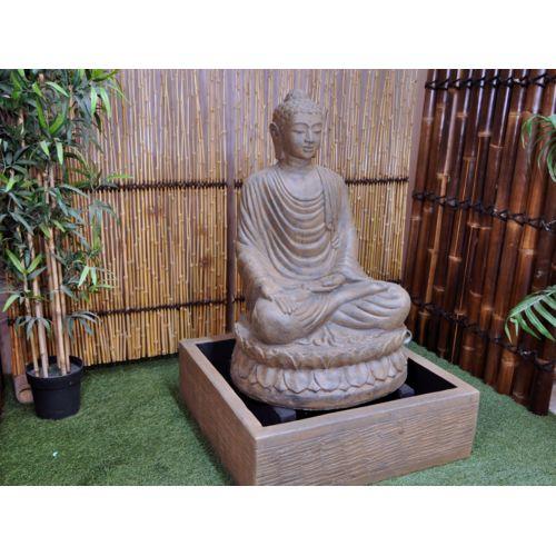 Bonareva Fontaine de jardin bouddha assis 1 m 20 patiné Noir