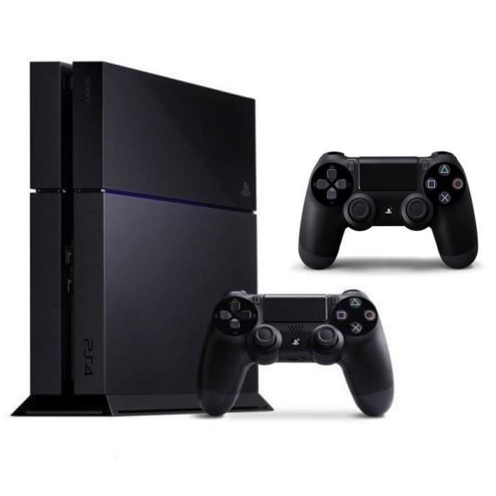 la console PS4 noire de 500 Go avec deux manettes DualShock 4 noires
