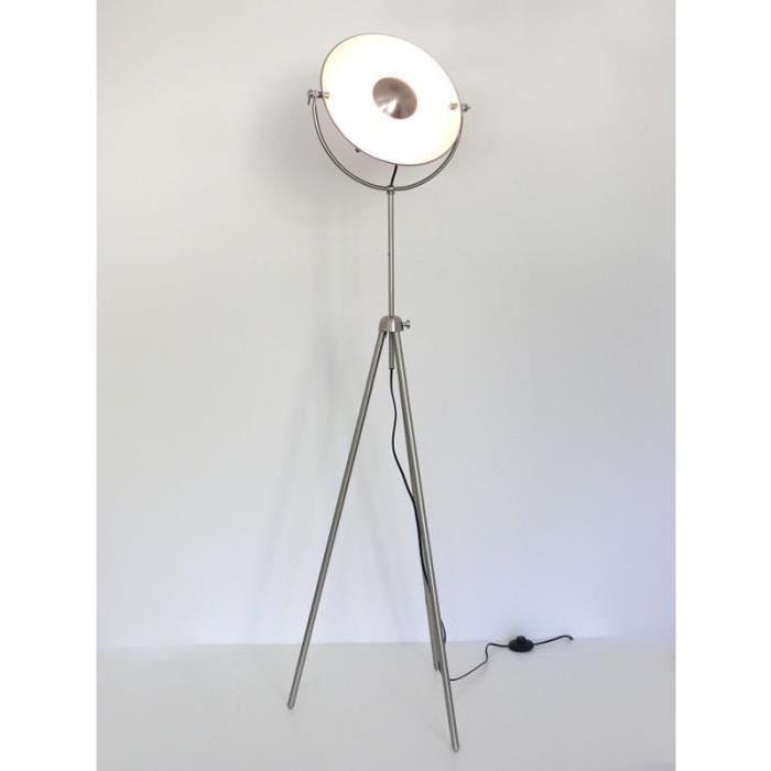 Lampadaire rétro, luminaire studio, nickel mat, Alona, 10318 Achat