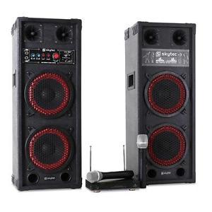 SET Karaoke DJ PA Actif 2X Enceintes Sono 8″ Pack Micro VHF Sans FIL