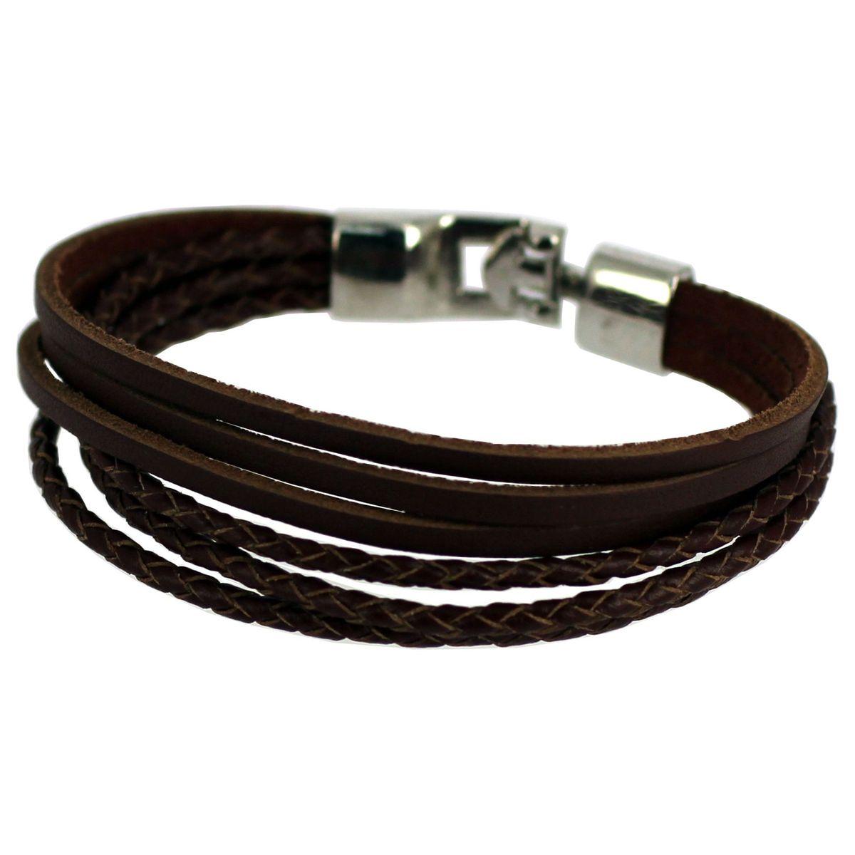 Bracelet cuir véritable marron 21 cm acier inoxydable So Chic Bijoux