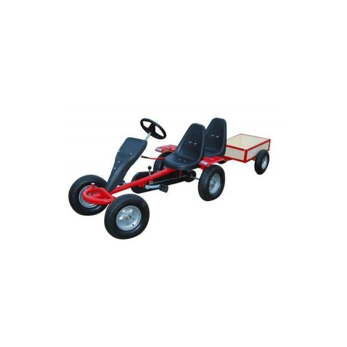 kart voiture a pedales pedale biplace rouge rem