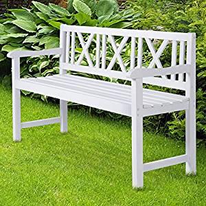 Miadomodo Banc de jardin blanc en bois 141 x 85 x 51 cm