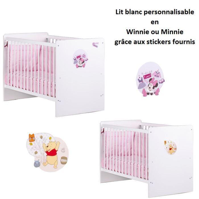 Lit bébé 120 x 60 cm Personnalisable Blanc Achat / Vente lit