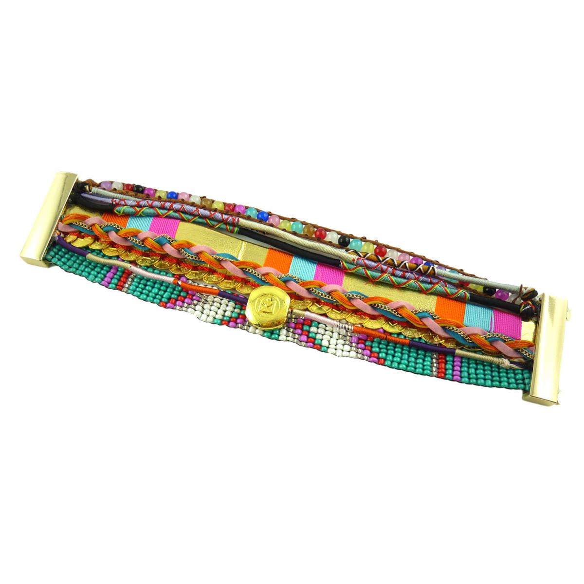 Bracelet Brésilien Ethnique Perles Doré Multibrins Tendance Fashion