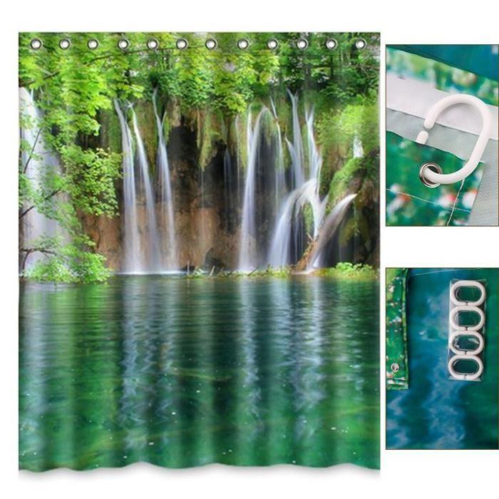 Paysage chute Salle de bain rideau baignoire Textile waterproof Rideau