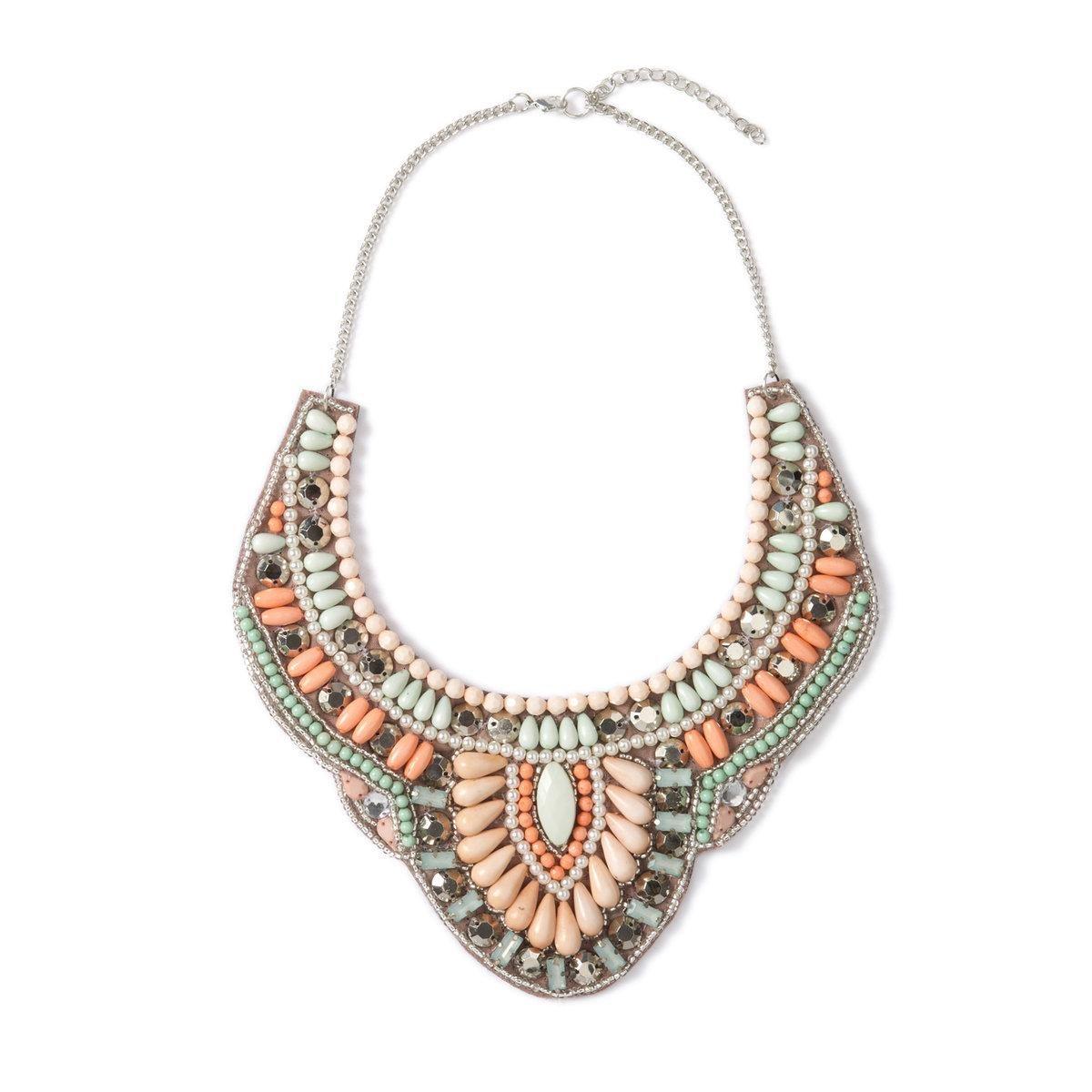 Collier plastron perles et strass Mademoiselle R