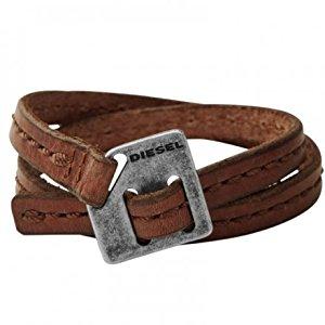 DIESEL bracelet double tour acier cuir Homme Bracelet Leather Cuffs