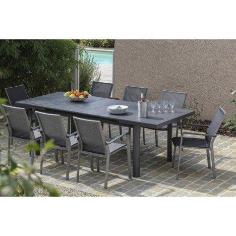 Table de jardin Bora rectangulaire gris 8 personnes |