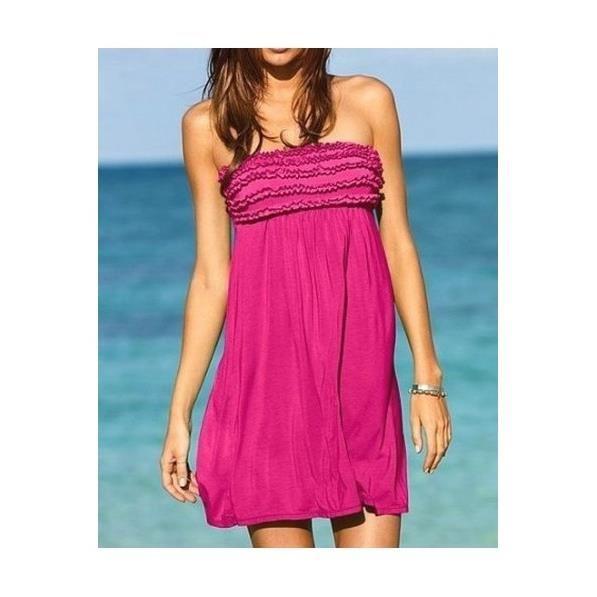 2e5ab75500b Robe de plage bustier fushia Rose Achat   Vente robe Robe de