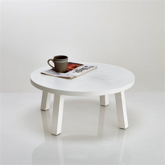 Table basse ronde en frêne laqué blanc, jimi Interieurs