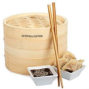 Vapeur En Bambou Naturel Tissé 20 cm Avec 2 Plateaux + 1 x Set De
