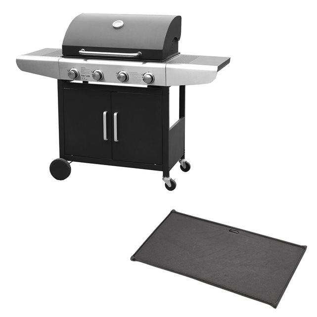 HAPPY GARDEN Barbecue gaz 4 brûleurs et plaque de cuisson plancha