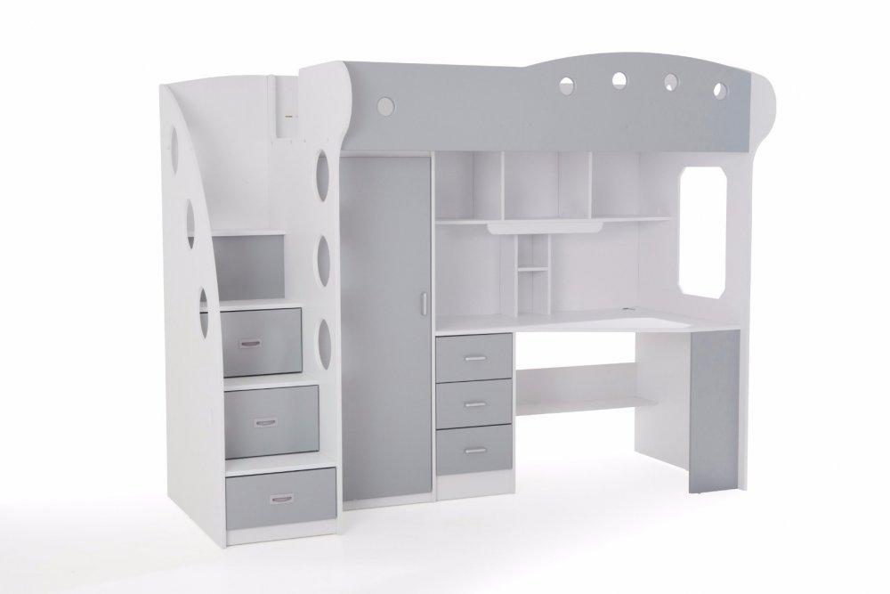 Lit mezzanine COMBI combiné bureau penderie blanche et grise