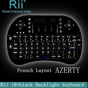 Layout AZERTY Back light Rii mini i8 wireless keyboard for smart TV PC