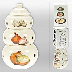 3 Pots superposés pour Ail, Oignons, Echalotes