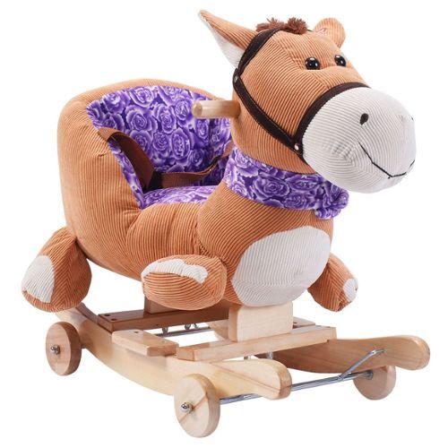cheval a bascule jouet pour bebe balancoire a peluche sonore animal