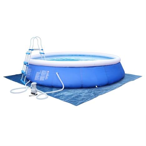 Kit piscine Emeraude Ø450x90cm gonflable bleue, autoportante ovale