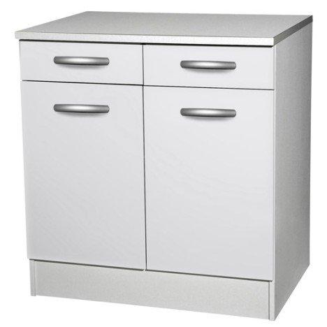 Meuble de cuisine bas 2 portes + 2 tiroirs, blanc, h86x l80x p60cm