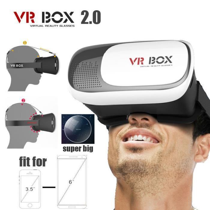 Montage en tête plastique VR BOX 2.0 Version VR Réalité Virtuelle