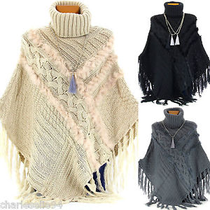 Poncho Cape Fourrure Tricot Pull 36 54 Hiver IRLANDE Femme