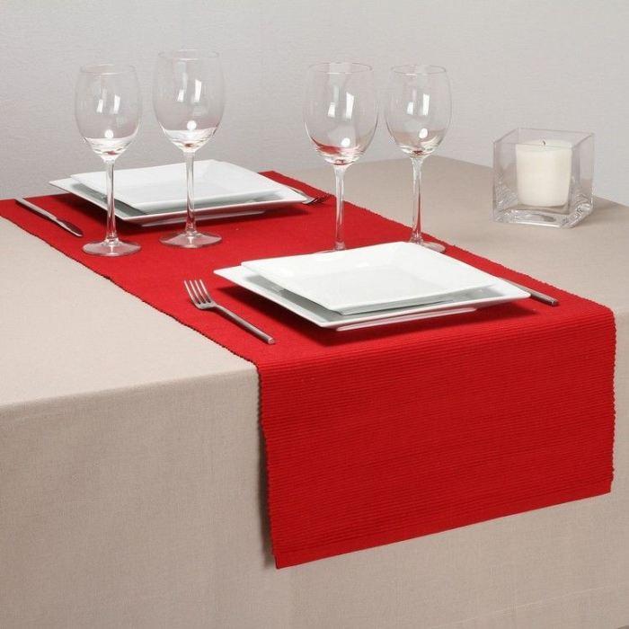 Chemin de table ROUGE Achat / Vente chemin et set de table