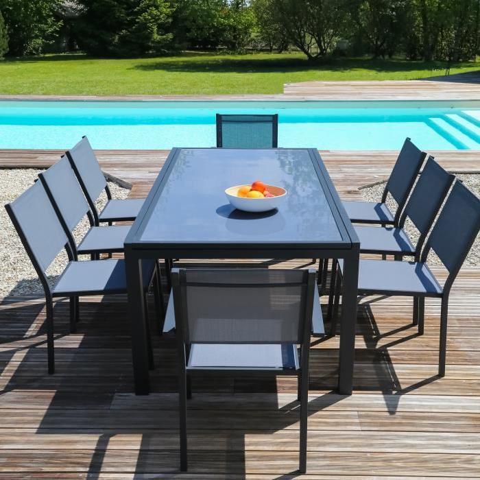 Ensemble table extensible de jardin 200 300 cm + 8 chaises gris