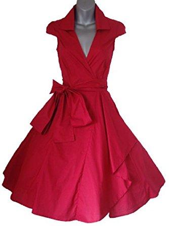 Robe de Soiree ,Rouge, Vintage Rockabilly style,Retro Années 50, Jupe