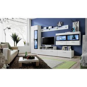 Salon complet blanc laque Achat / Vente Salon complet