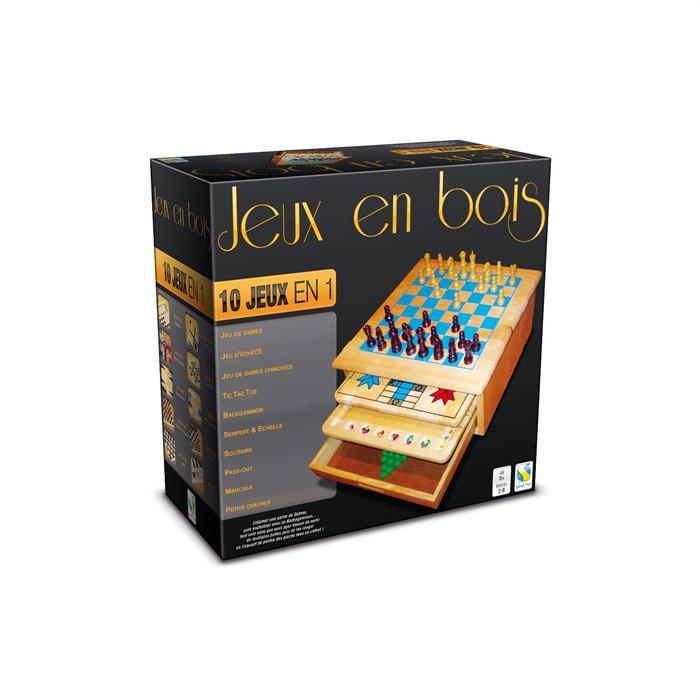 Coffret bois de 10 jeux traditionnels avec tiroirs Achat / Vente jeu