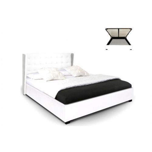 Declikdeco Lit coffre simili cuir blanc Rabatya 160×200 cm pas