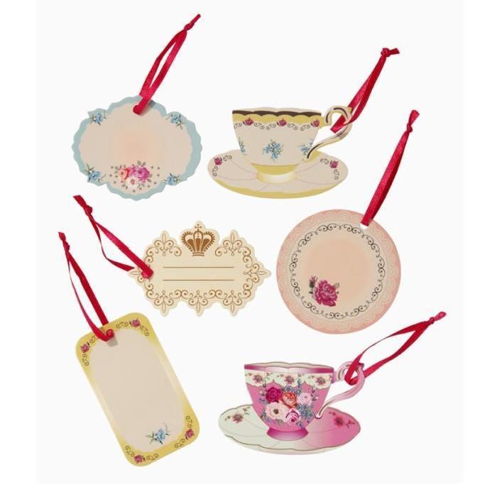 24 Etiquettes Tea Time et rubans Achat / Vente décoration