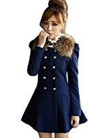 Hee Grand Femme Laine Synthetique Manteau Slim Trench Hiver Coat FR 34