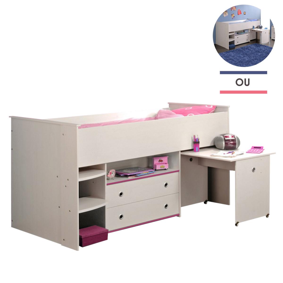 Lit combiné 90x200cm avec tiroirs et bureau intégrés bleu ou rose