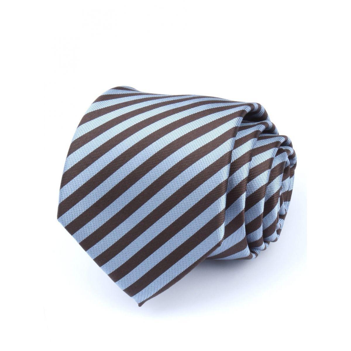 image Cravate club pure soie chevrons rayés bleu ciel et marron