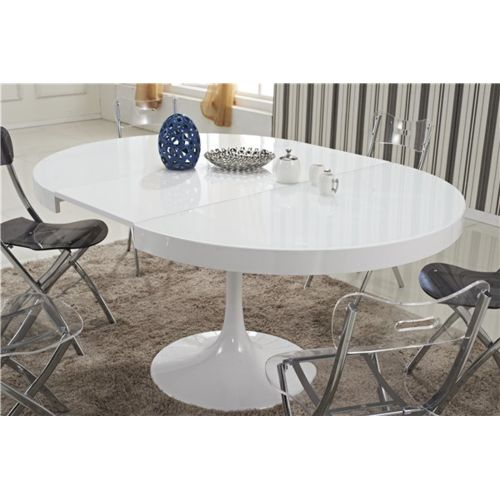 Inside75 Table ronde extensible Tulipe blanche 120 pas cher