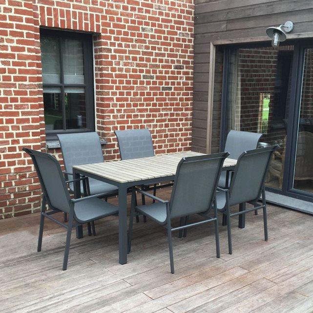 Salon de jardin en aluminium, bois, textilène 6 places