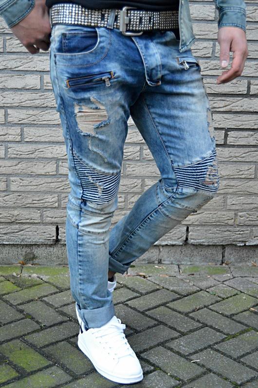 UK STYLE Rocker BIKER Skinny Fit délavé Homme Jeans Tubes Pantalon
