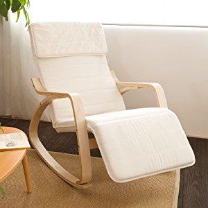 Fauteuil à bascule avec repose pieds réglable design, Rocking Chair