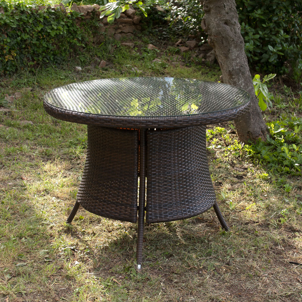 Table de jardin en resine tressee - TopiWall