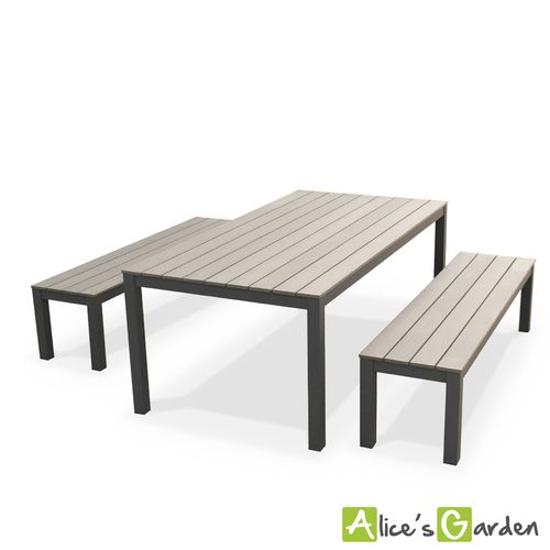 de jardin Antibes table 200cm 8 places Gris polywood bois bancs