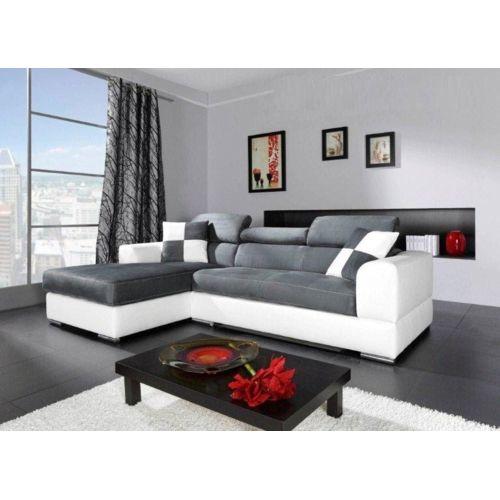 Chloe Design Canapé d'angle Madrid avec angle droit ou gauche 260cm