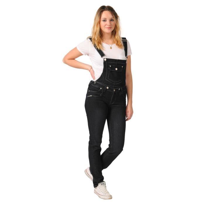 Femme Salopette Skinny Noir Noir Achat / Vente salopette