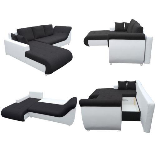 SOFA STORY Canapé d'angle convertible Tudor Noir / Blanc