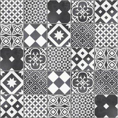 Mosaïque sol et mur Gatsby décor noir et blanc |