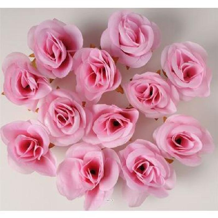 Tetes de rose Artificielle X 24 Rose Tendre D 4 50 cm pour Boule de