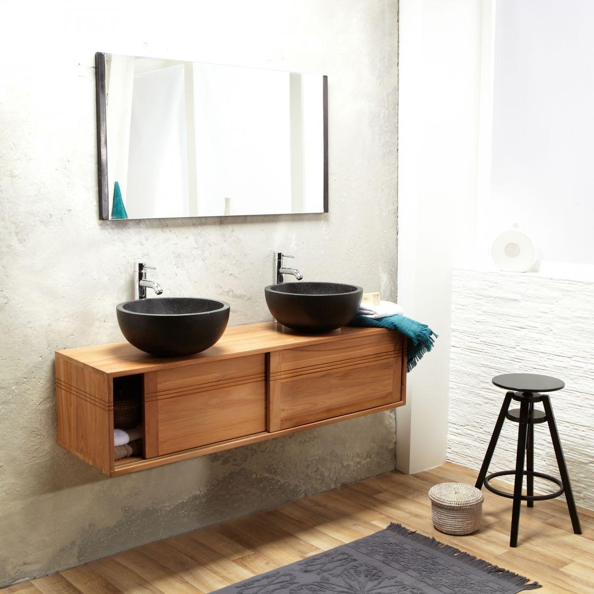 Meuble salle de bain suspendu bois de teck 140 basic Tikamoon | La